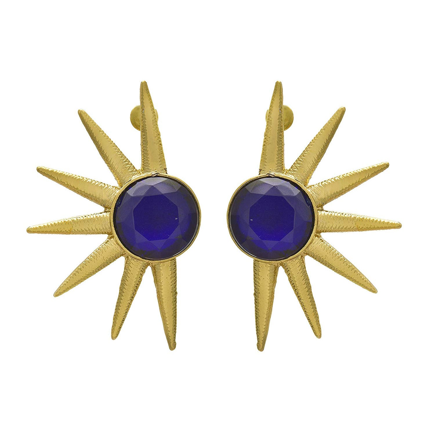 JFL -Traditional Ethnic One Gram Gold Plated Sun Design Designer Earrings for Women & Girls.