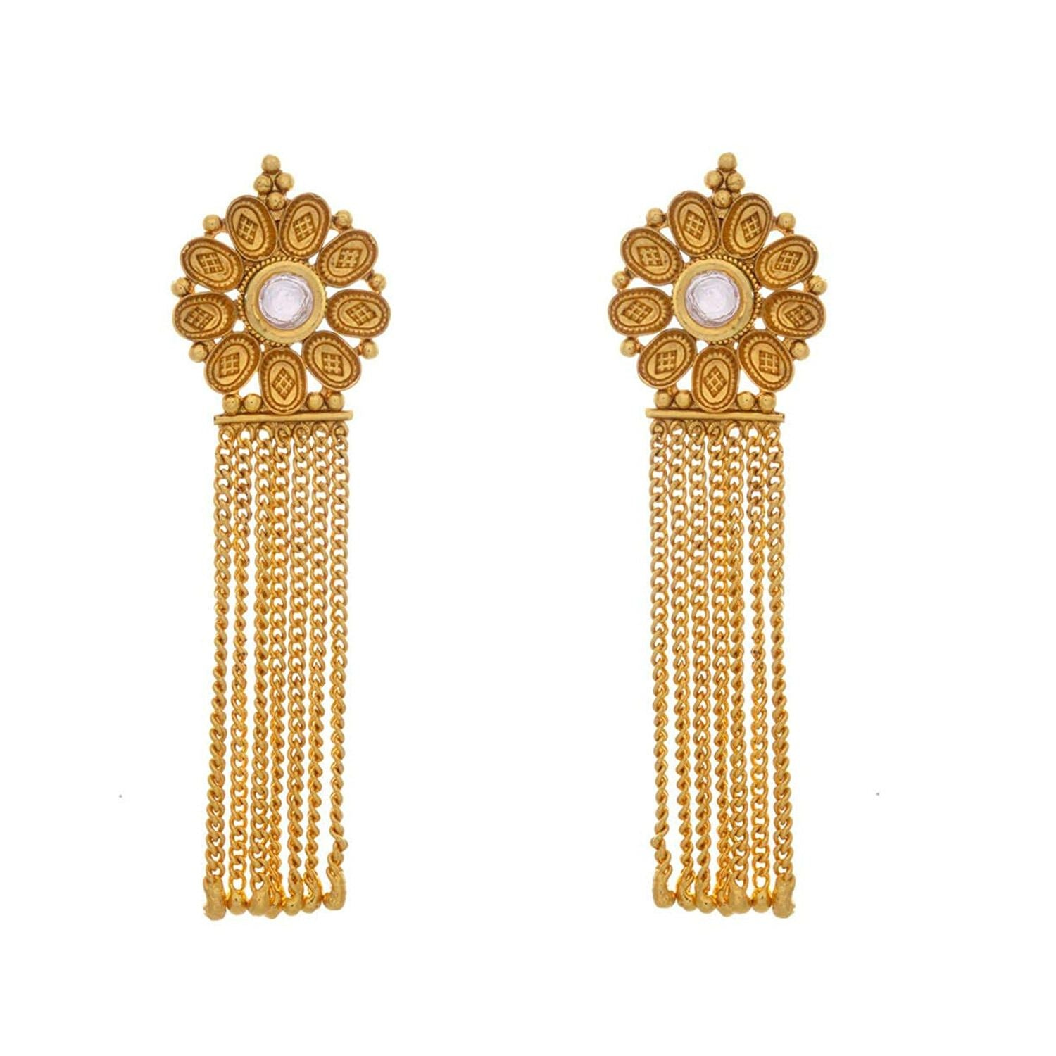 JFL - Ethnic Traditional & Fusion Kundan One Gram Gold Plated Designer Long Earrings for Girls & Women