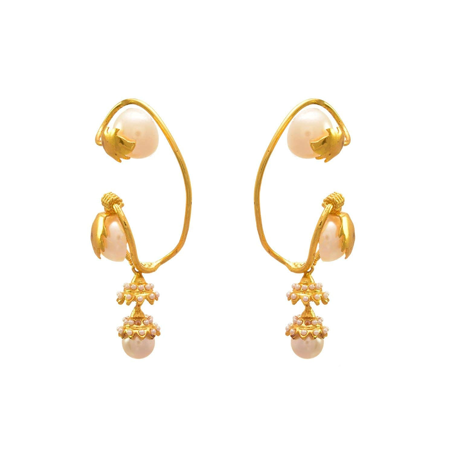 JFL-  Jewellery For Less Grand Glorious One Gram Gold Plated Pearls Dangler Ear Cuff Earrings For Women