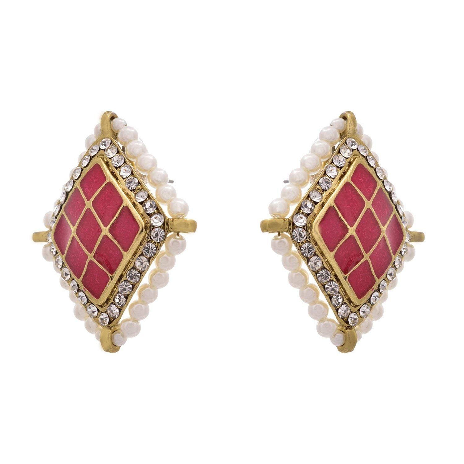 JFL - Ethnic & Fusion Ruby Designer Earrings studded with Pearls and Austrian Diamonds for Girls & Women