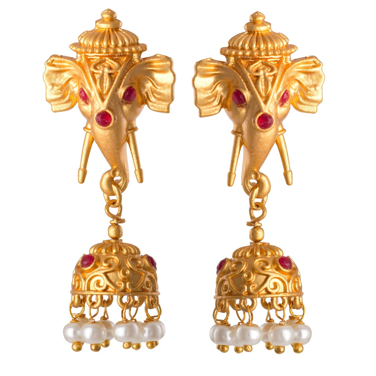JFL - Traditional Ethnic Beautiful Goddess Ganesha with Semi Precious Ruby Pink Stone Pearl Designer Jhumki Earring for Women Girls