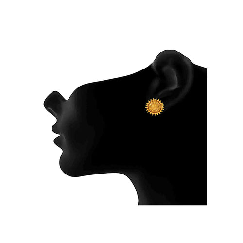 JFL - Jewellery for Less Classic Ethnic 1 g Golden Gold Plated Casual Wear Sun Stud Earrings for Women
