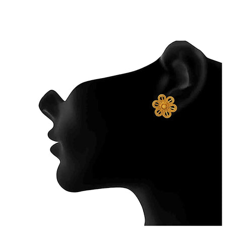 JFL - Jewellery for Less Ethnic Gold Plated Floral Stud Earrings for Women & Girls