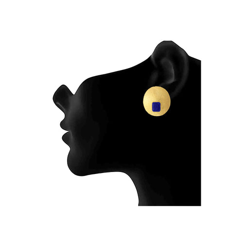 JFL - Traditional Ethnic One Gram Gold Plated Blue Stone Designer Stud Earring for Women & Girls.