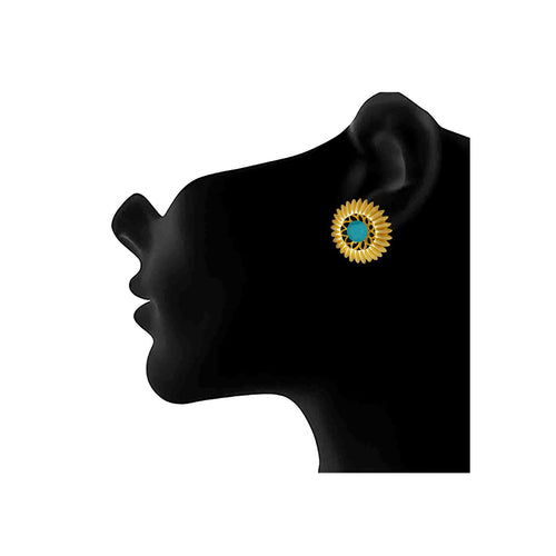 JFL - Traditional Ethnic One Gram Gold Plated Turquoise Blue  Stone Designer Stud Earring for Women & Girls.