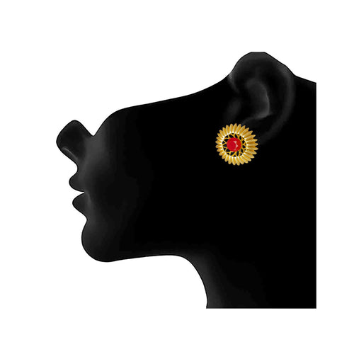 JFL - Traditional Ethnic One Gram Gold Plated  Red Stone Designer Stud Earring for Women & Girls.