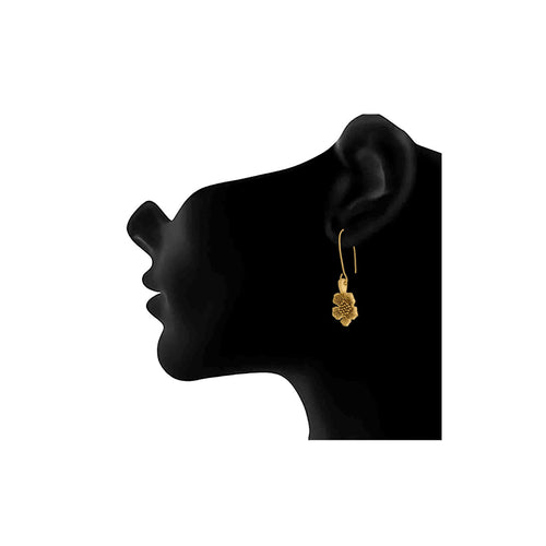 JFL - Traditional and Ethnic One Gram Gold Plated Floral Designer Dangler drop Earring for Girls and Women.