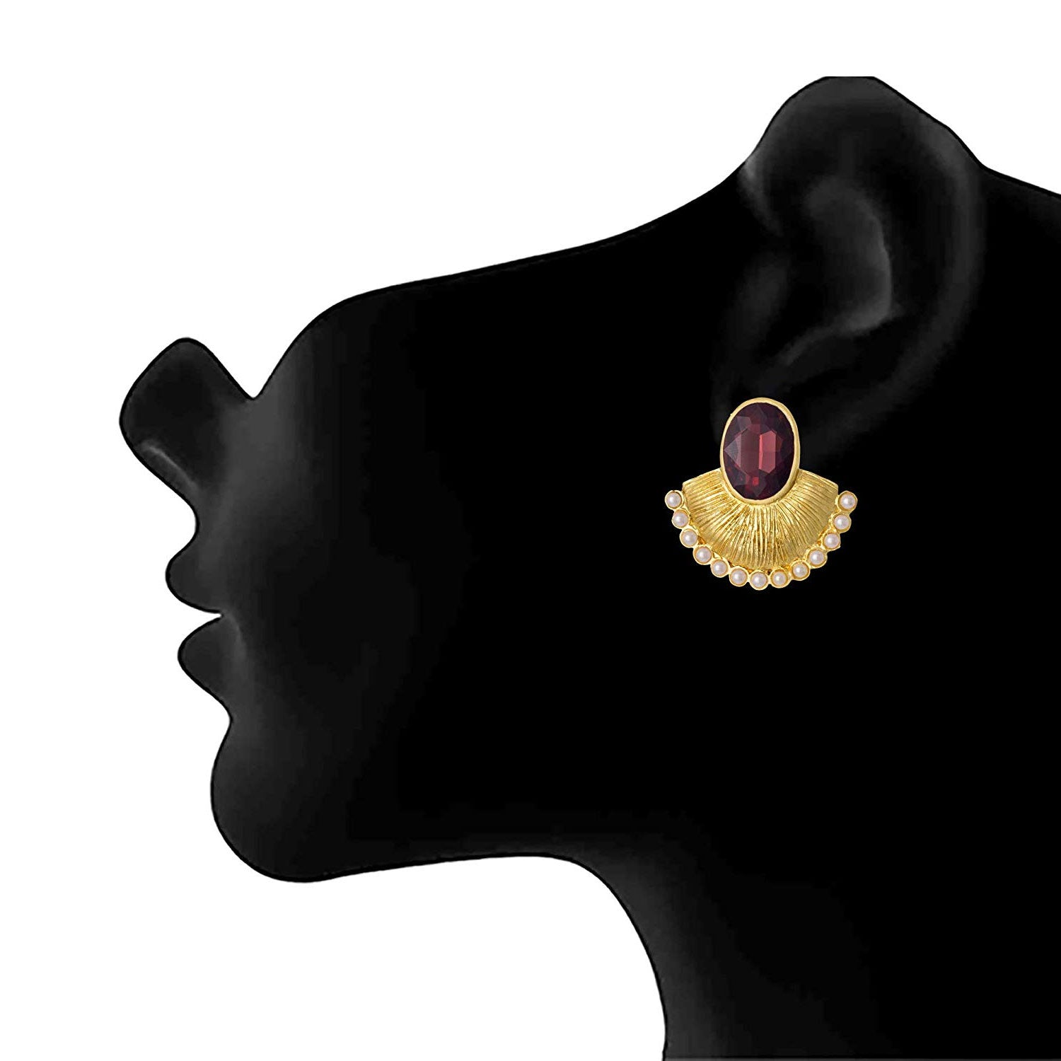 JFL - Ethnic Fusion One Gram Gold Plate Crystal Designer Pearl Earring for Women and Girls