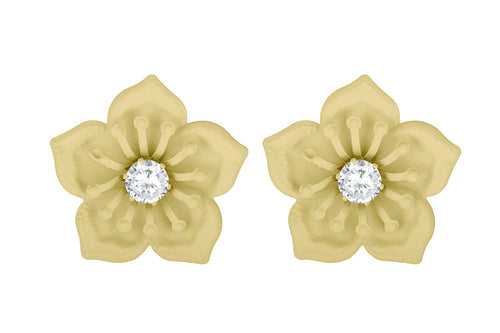 JFL - Stylish Fancy Floral Solitaire CZ American Diamond Party Wear Matt Rubber Coated Big Stud Earrings for Women & Girls.