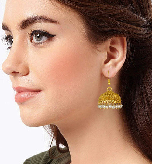 JFL - Jewellery for Less Gold Plated Stylish Party Wear Jhumki Earrings for Girls |Office and Casual Wear