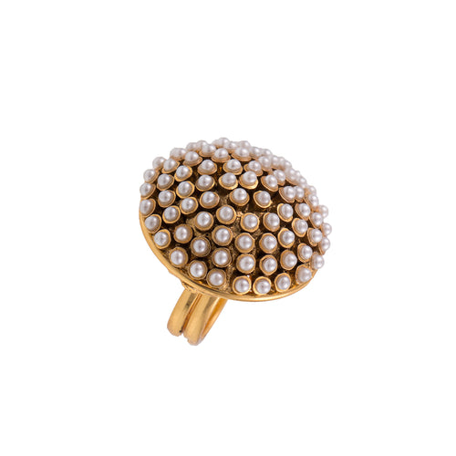 JFL-Traditional and Ethnic One Gram Gold Plated Pearl Designer Fancy Finger Ring for Women and Girls