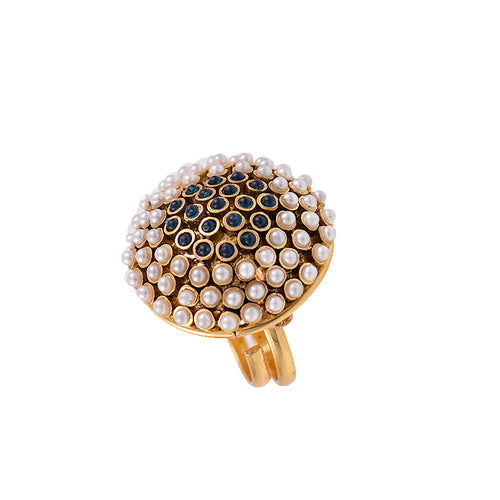 JFL-Traditional and Ethnic One Gram Gold Plated Pearl & Color Stone Designer Fancy Finger Ring for Women and Girls