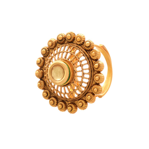 JFL-Traditional and Ethnic One Gram Gold Plated Kundan Floral Jali Designer Fancy Finger Ring for Women and Girls