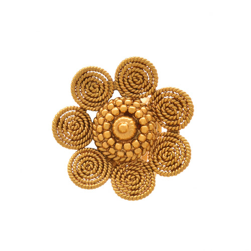 JFL-Traditional and Ethnic One Gram Gold Plated Spiral Floral Designer Fancy Finger Ring for Women and Girls