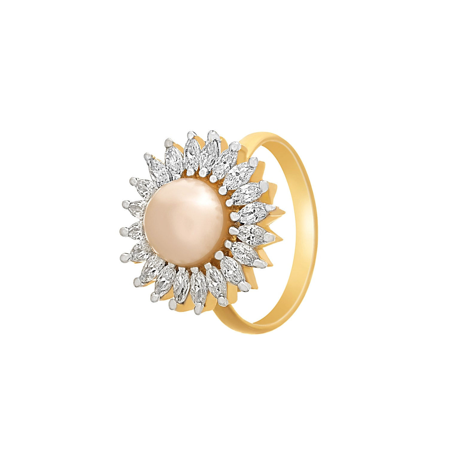 JFL-Pearl with Diamonds Fancy Party Wear Finger Rings Jewellery for Women and Girls