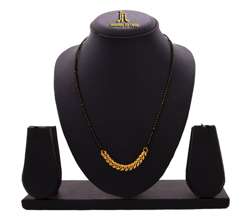 JFL - Jewellery for Less 1g Gold Plated Gold Bead & Leaf Chain Designer Mangalsutra with Black Beaded Chain for Women