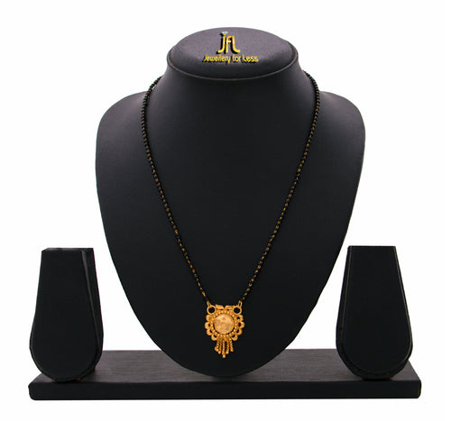 JFL - Jewellery for Less Traditional Ethnic 1g Gold Plated Designer Mangalsutra with Black Beaded Chain for Women