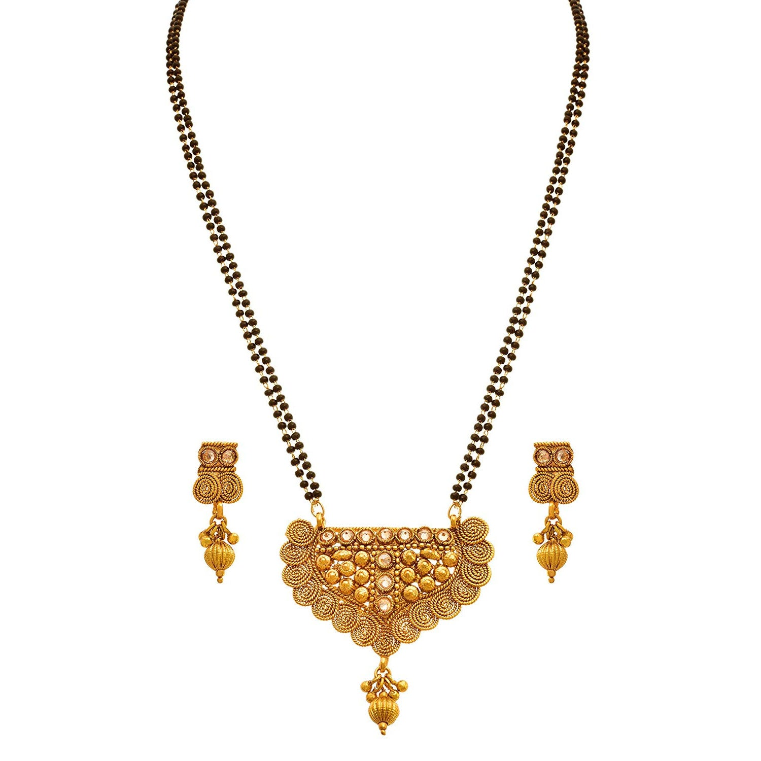 JFL - Jewellery For Less Traditional Ethnic One Gram Gold Plated Spiral Diamond Designer Mangalsutra Jewellery Set With Earring For Women.