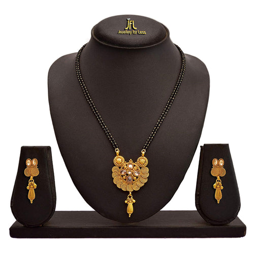 JFL - Jewellery For Less Traditional Ethnic One Gram Gold Plated Spiral Lcd Champagne Designer Mangalsutra Jewellery Set With Earring For Women