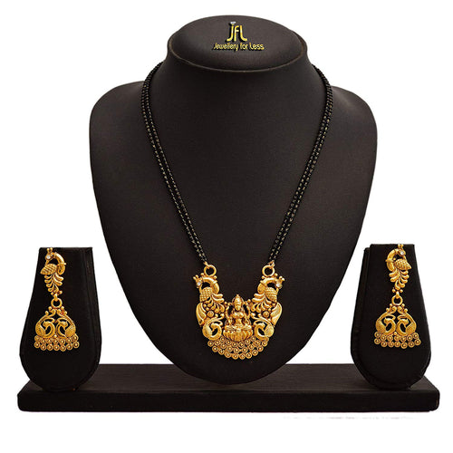 JFL - Traditional Ethnic One Gram Gold Plated Goddess Laxmi With Peacock Designer Mangalsutra Jewellery Set with Earring for Women.