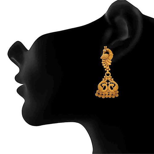 Bfc Traditional One Gram Gold Plated Peacock Designer Earring For Woman And Girls