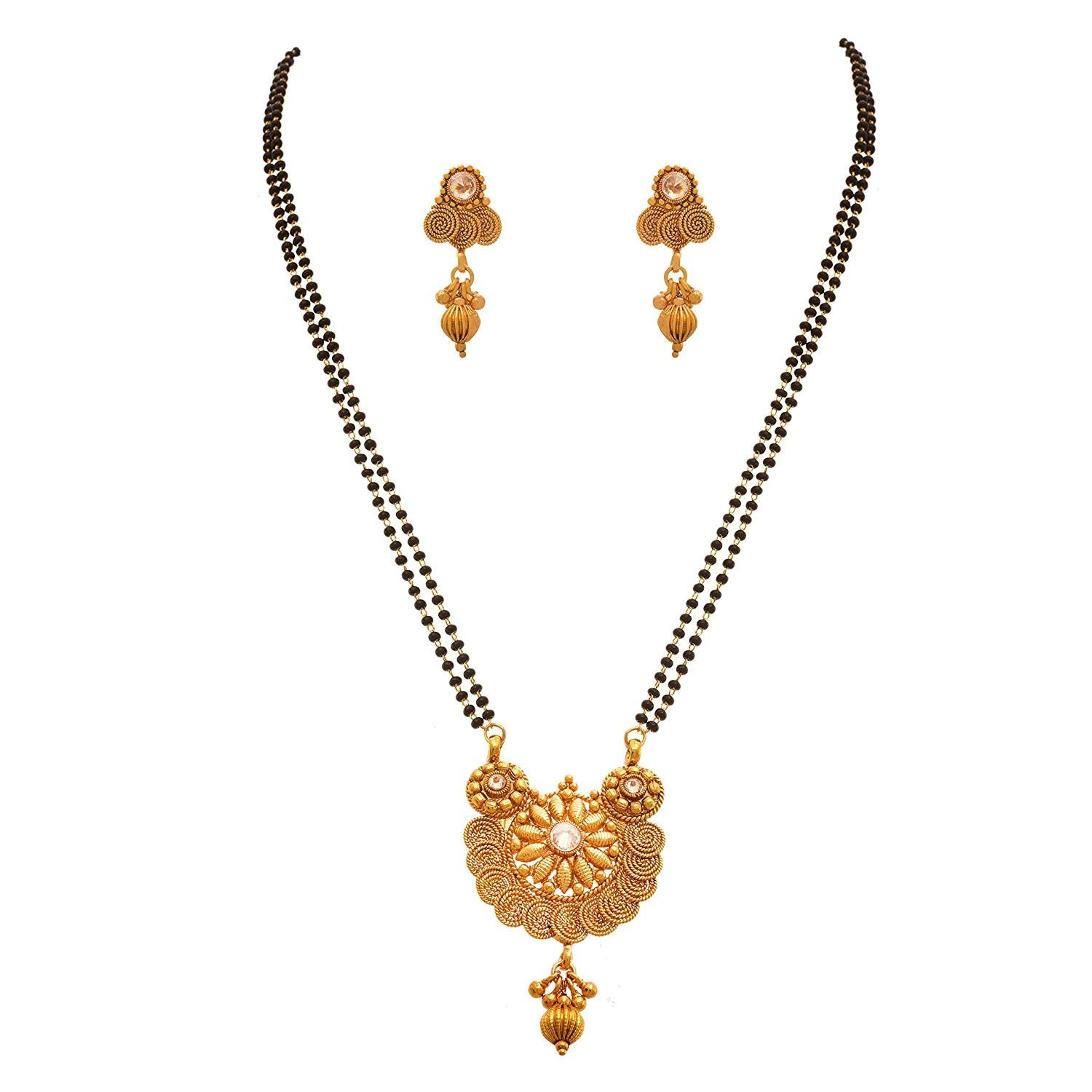 JFL - Traditional Ethnic One Gram Gold Plated Spiral LCD Champagne Designer Mangalsutra with Earring for Women.