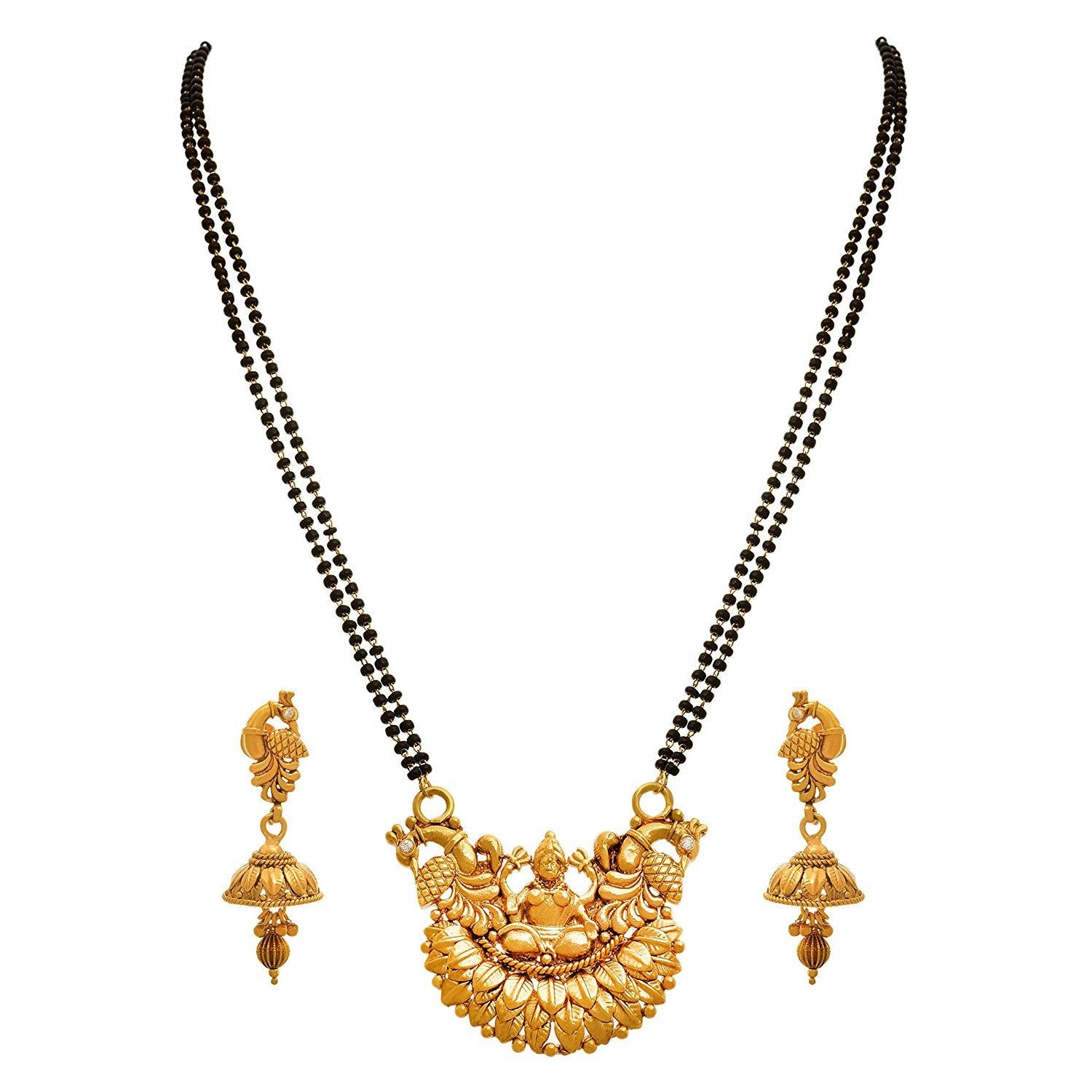 JFL - Traditional Ethnic One Gram Gold Plated Peacock Designer Mangalsutra Jewellery Mangalsutra Set with Earring for Women