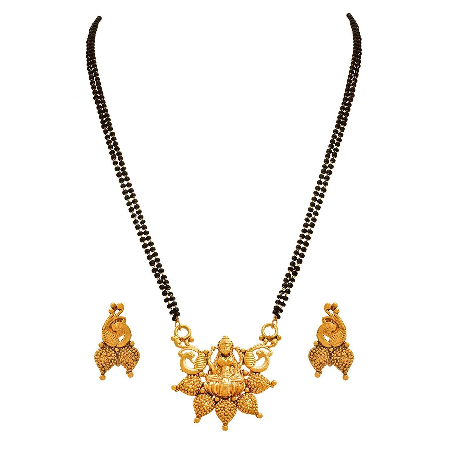 JFL - Traditional Ethnic One Gram Gold Plated Temple Goddess Laxmi Designer Mangalsutra Jewellery Mangalsutra Set with Earring for Women.