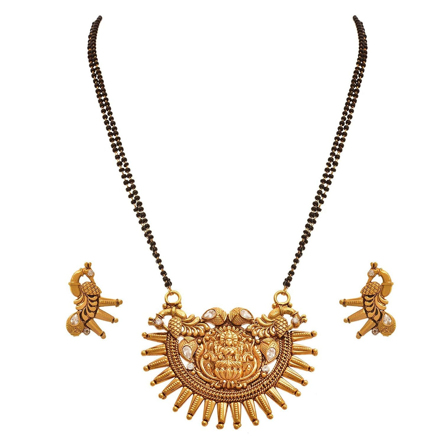 JFL - Traditional Ethnic One Gram Gold Plated Goddess Laxmi With Peacock Designer Mangalsutra Jewellery Mangalsutra Set with Earring for Women.