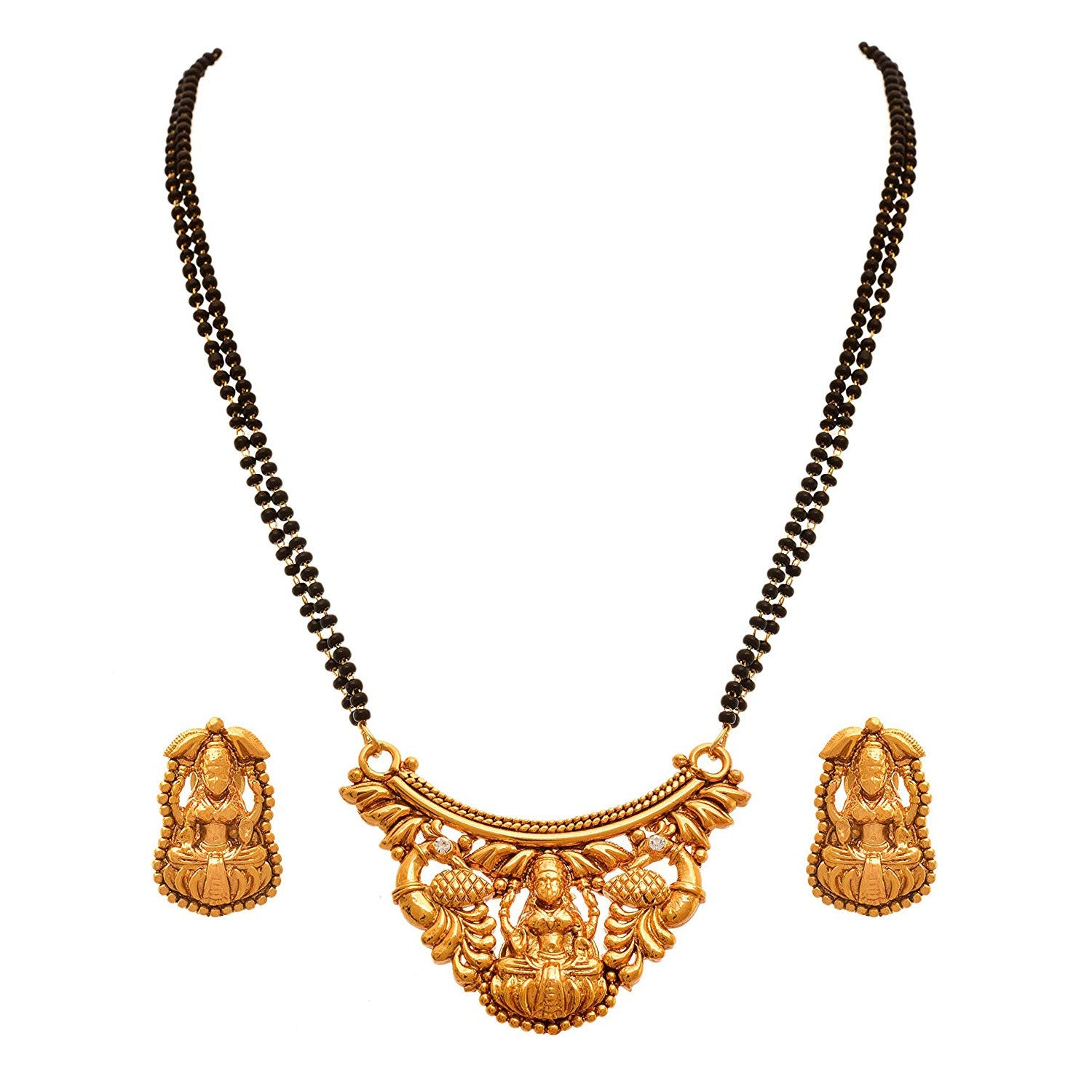 JFL - Jewellery for Less Traditional Ethnic One Gram Gold Plated Goddess Laxmi Peacock Designer Mangalsutra Jewellery Set with Earring for Women