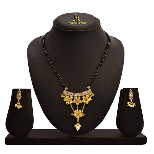 JFL - Jewellery for Less One Gram Gold Plated Polki Diamond & Pearl Designer Mangalsutra Set With Black Beaded Chain For Women