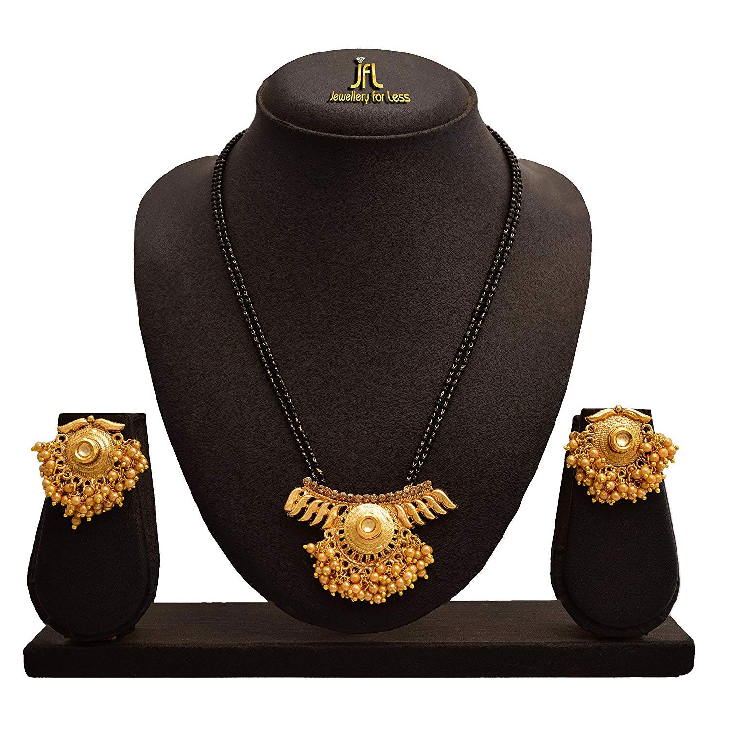 JFL -Traditional Fashion Ethnic One Gram Gold Plated Kundan & Pearl Designer Mangalsutra Set For Women.