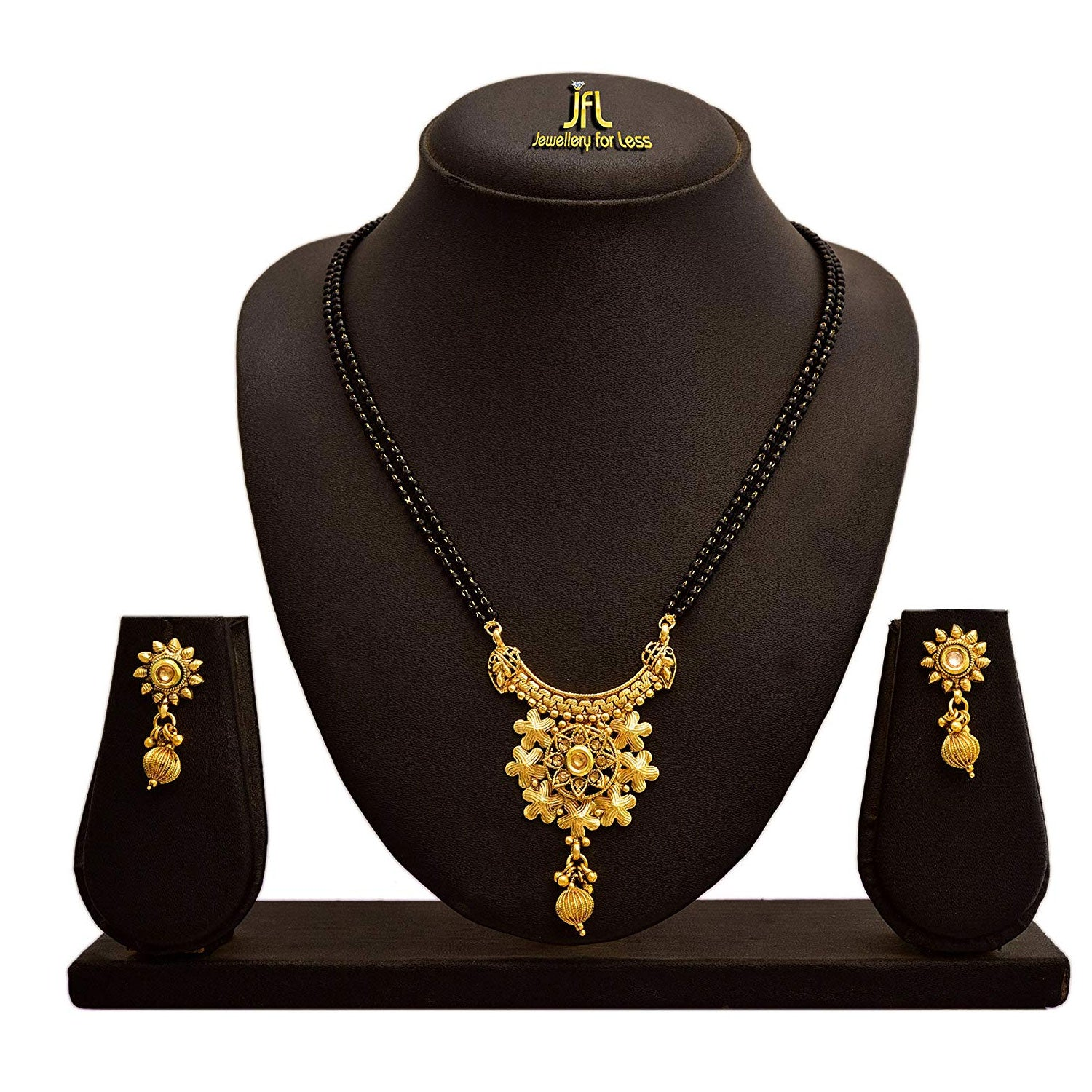 JFL - Jewellery for Less One Gram Gold Plated Kundan Designer Mangalsutra Set With Black Beaded Chain For Women