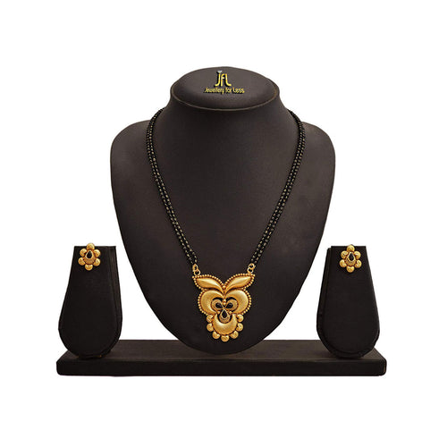JFL-Traditional Ethnic One Gram Gold Plated Mangalsutra Set With Black Beaded Chain For Women.