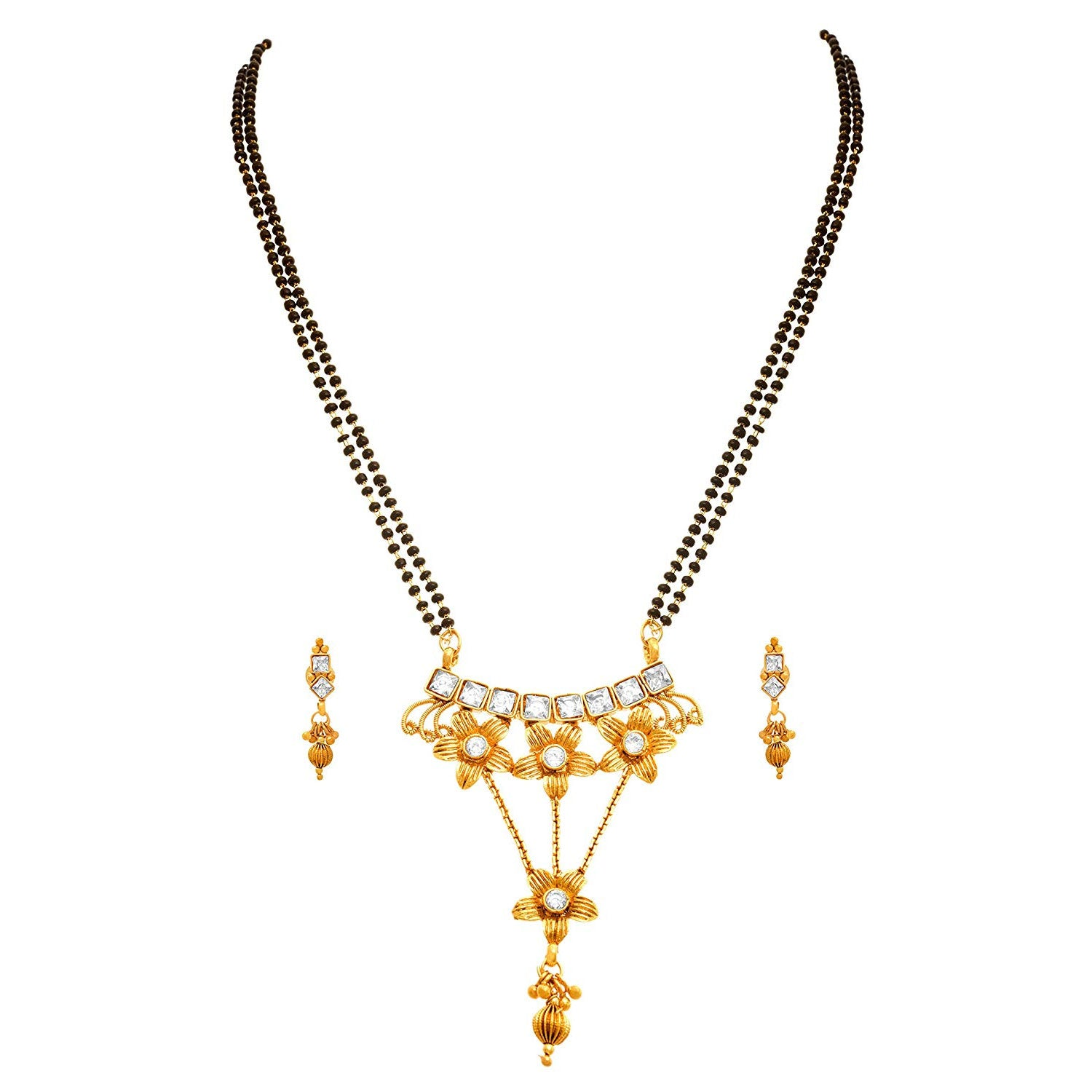 JFL - Traditional Ethnic One Gram Gold Plated Cz American Diamond Designer Mangalsutra Set With Black Beaded Chain For Women.