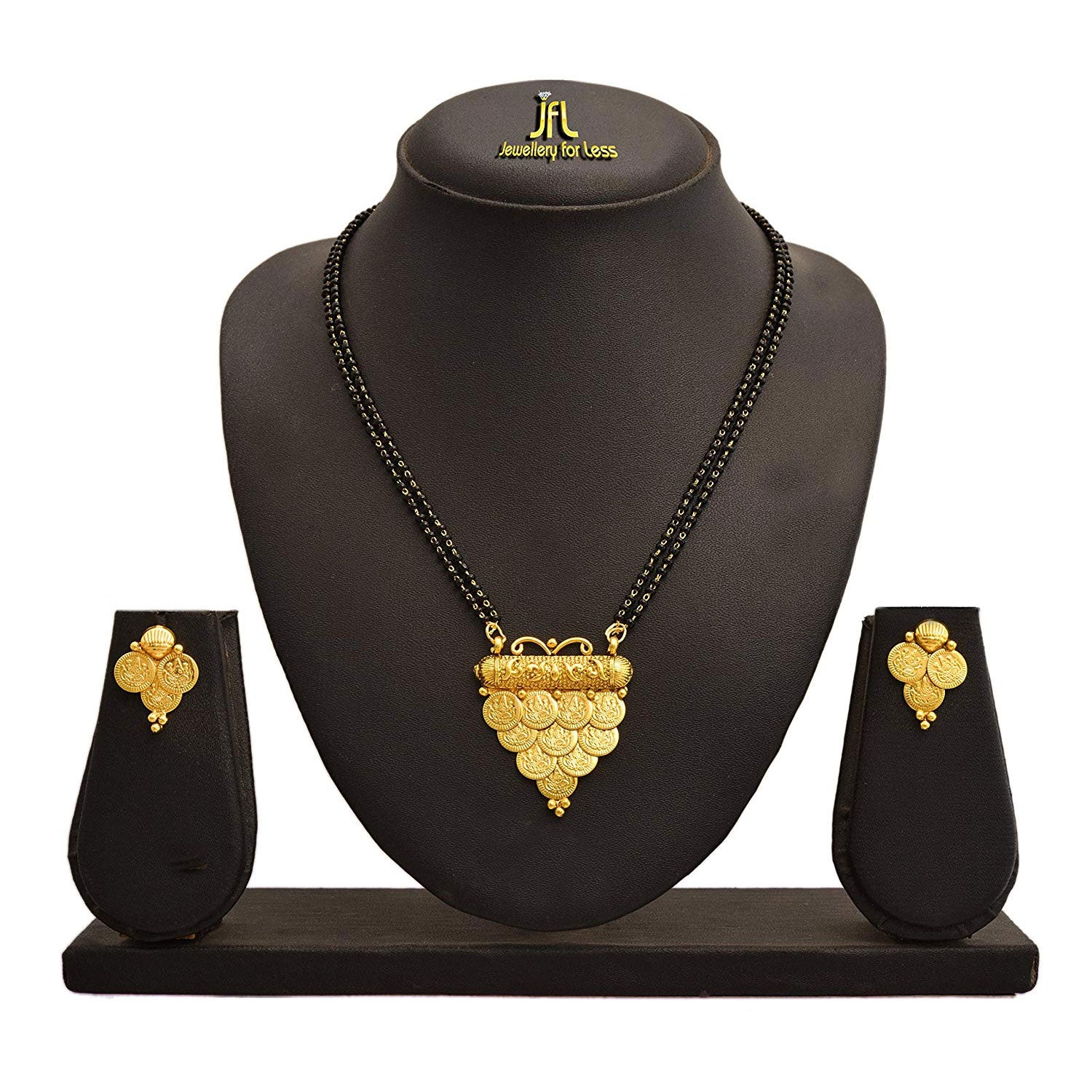 JFL- Traditional Ethnic One Gram Gold Plated Temple Goddess Laxmi Coin Designer Mangalsutra with Black Beaded Chain for Womens.