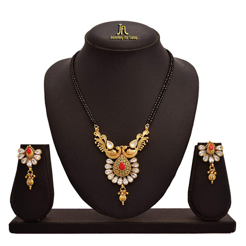 JFL - Jewellery for Less One Gram Gold Plated Diamond & Kundan With Peacock Designer Mangalsutra Set for Women