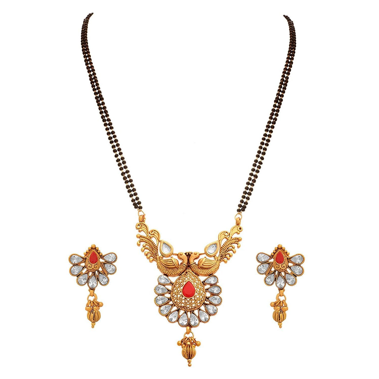 JFL - Jewellery for Less One Gram Gold Plated Diamond & Kundan With Peacock Designer Mangalsutra Mangalsutra Set for Women
