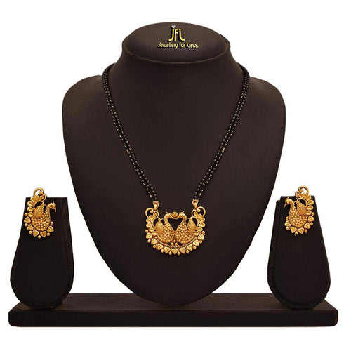 JFL -Traditional Ethnic One Gram Gold Plated Dual Peacock Designer Mangalsutra with Double Black Beaded Chain for Women.