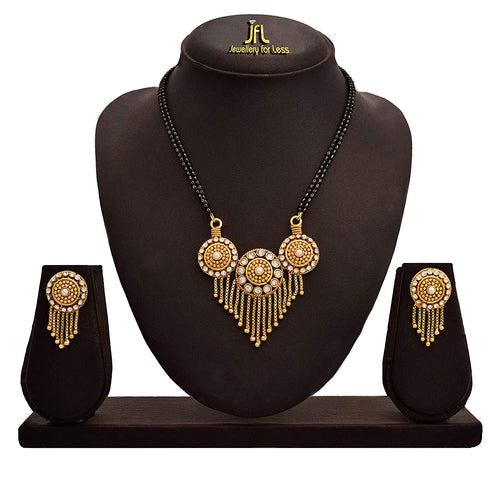 JFL - Traditional Ethnic One Gram Gold Plated Austrian Diamond Pearls Designer Mangalsutra Jewellery set with Earring for Women
