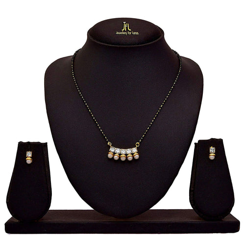 JFL- Traditional Ethnic One Gram Gold Plated Cz American Diamond Pearl Single Black Beads Tanmaniya Mangalsutra with Earring for Womens.