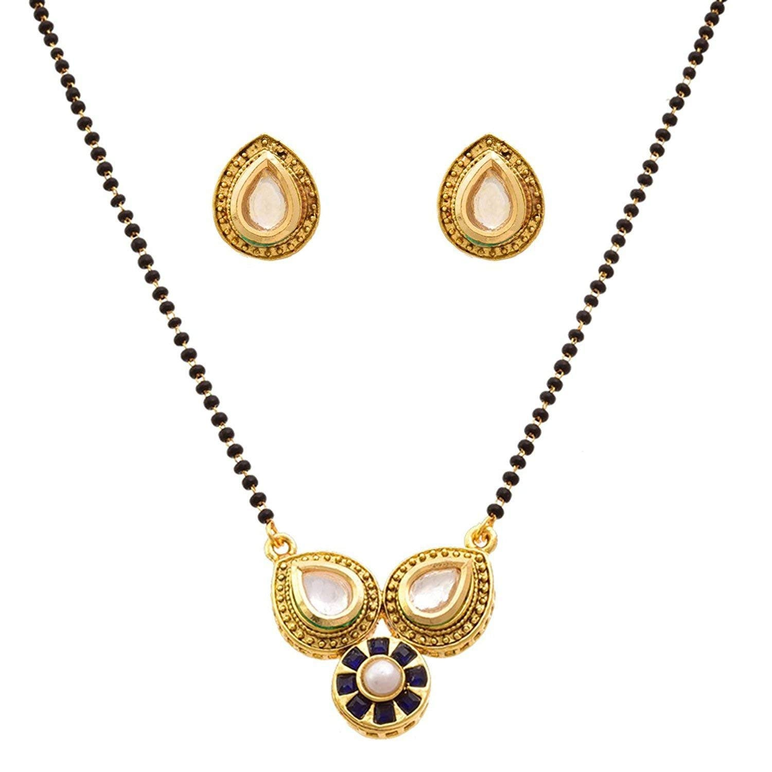 JFL - Stunning Red One Gram Gold Plated Tanmaniya Mangalsutra with Kundan Peral & Stone for Women