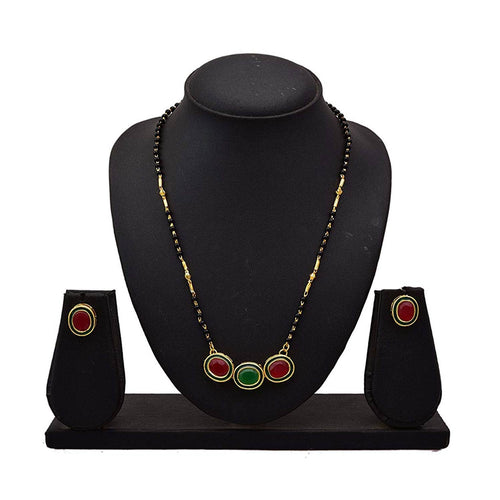 JFL - Ethnic One Gram Gold Plated Red & Green Designer Tanmaniya Mangalsutra with Black Beaded Chain and Earrings for Women.