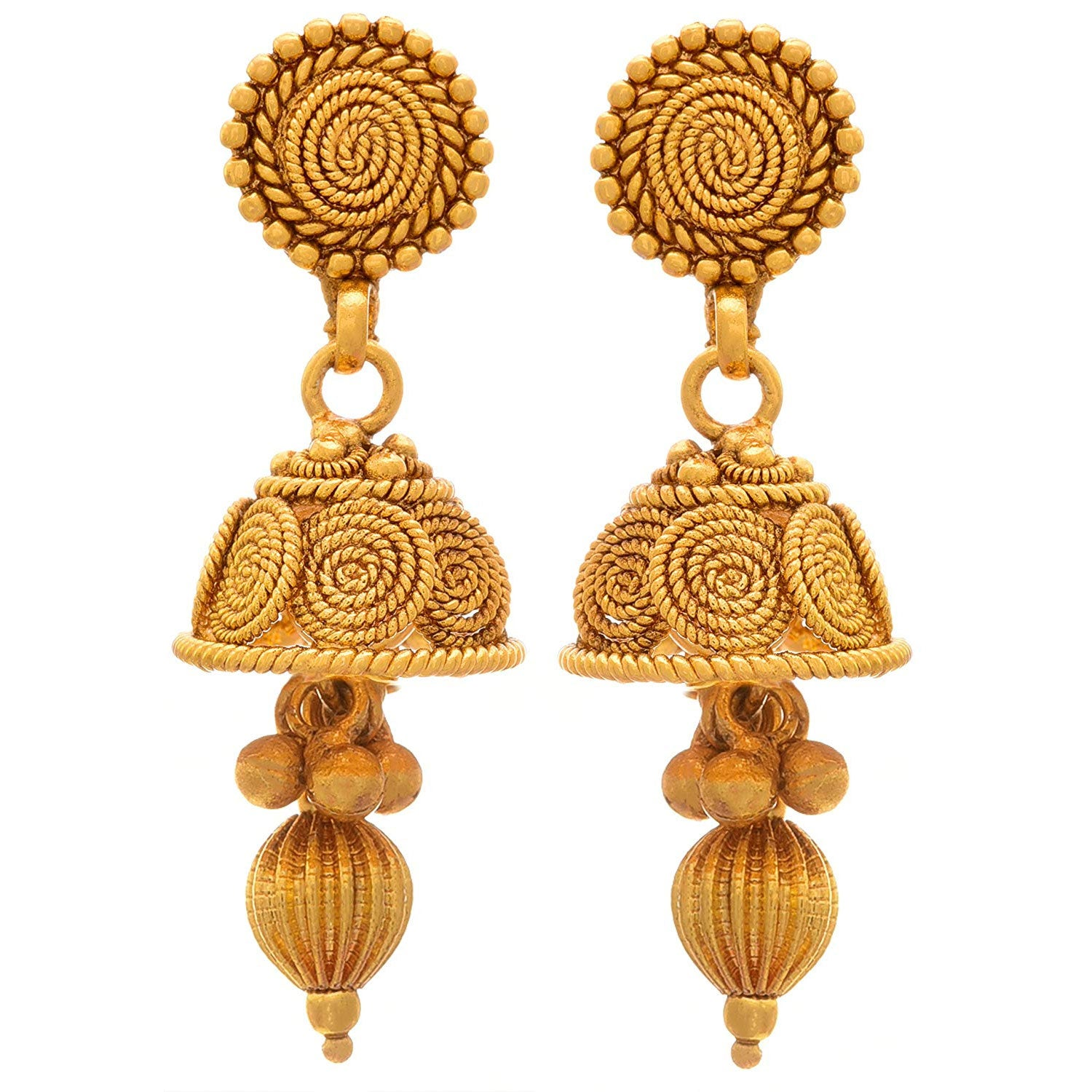 JFL - Traditional Ethnic One Gram Gold Plated Spiral Mangalsutra Jewellery Set With Earring For Women