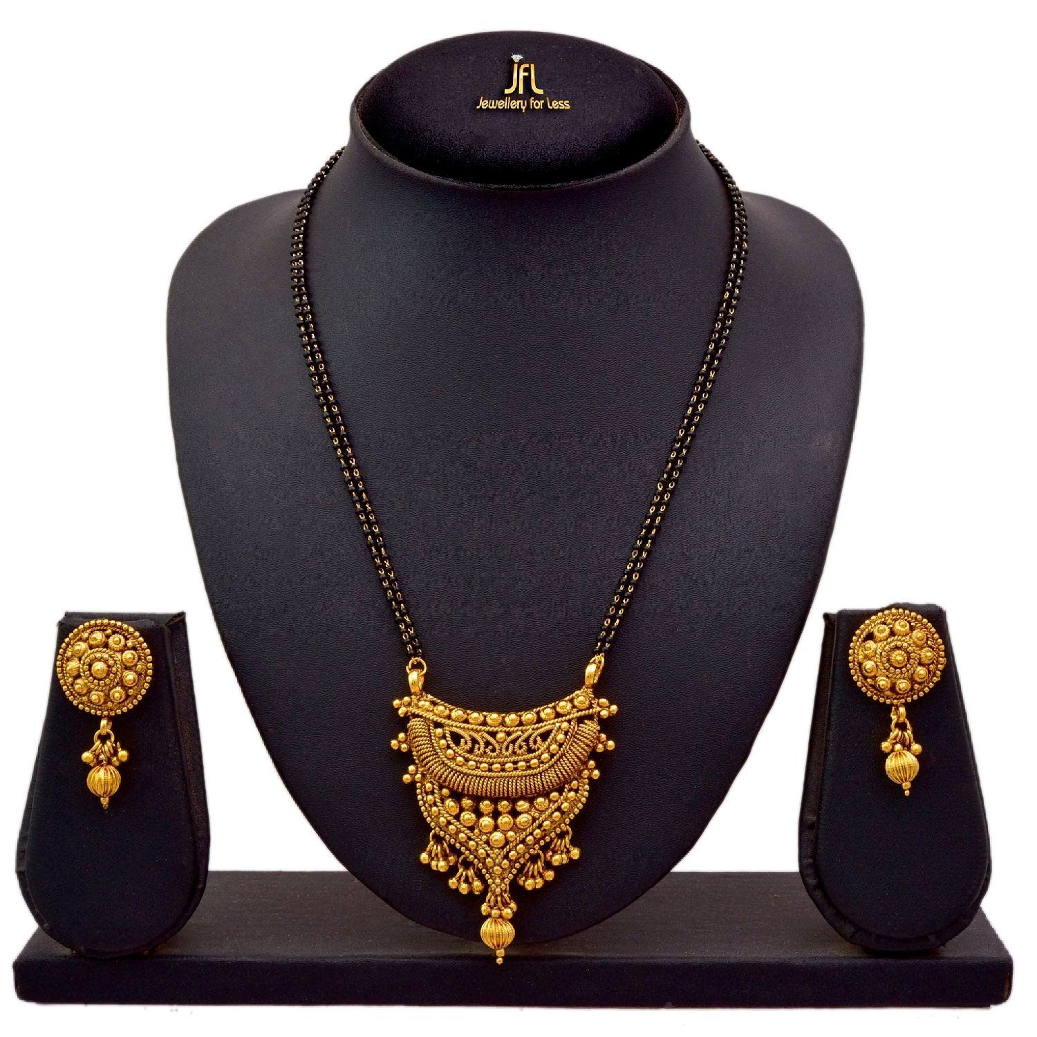 JFL - Traditional Ethnic One Gram Gold Plated Mangalsutra With Earring And Double Black Beaded Chain For Women