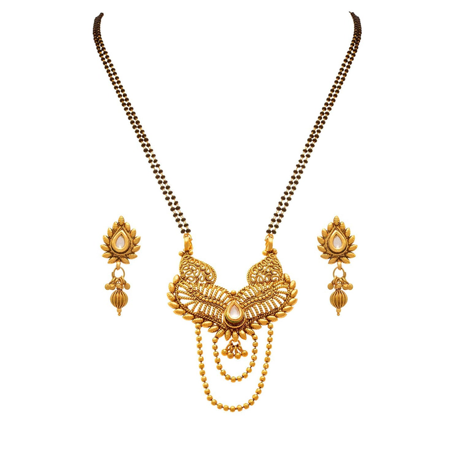 JFL - Kundan One Gram Gold Plated Mangalsutra With Earrings For Women