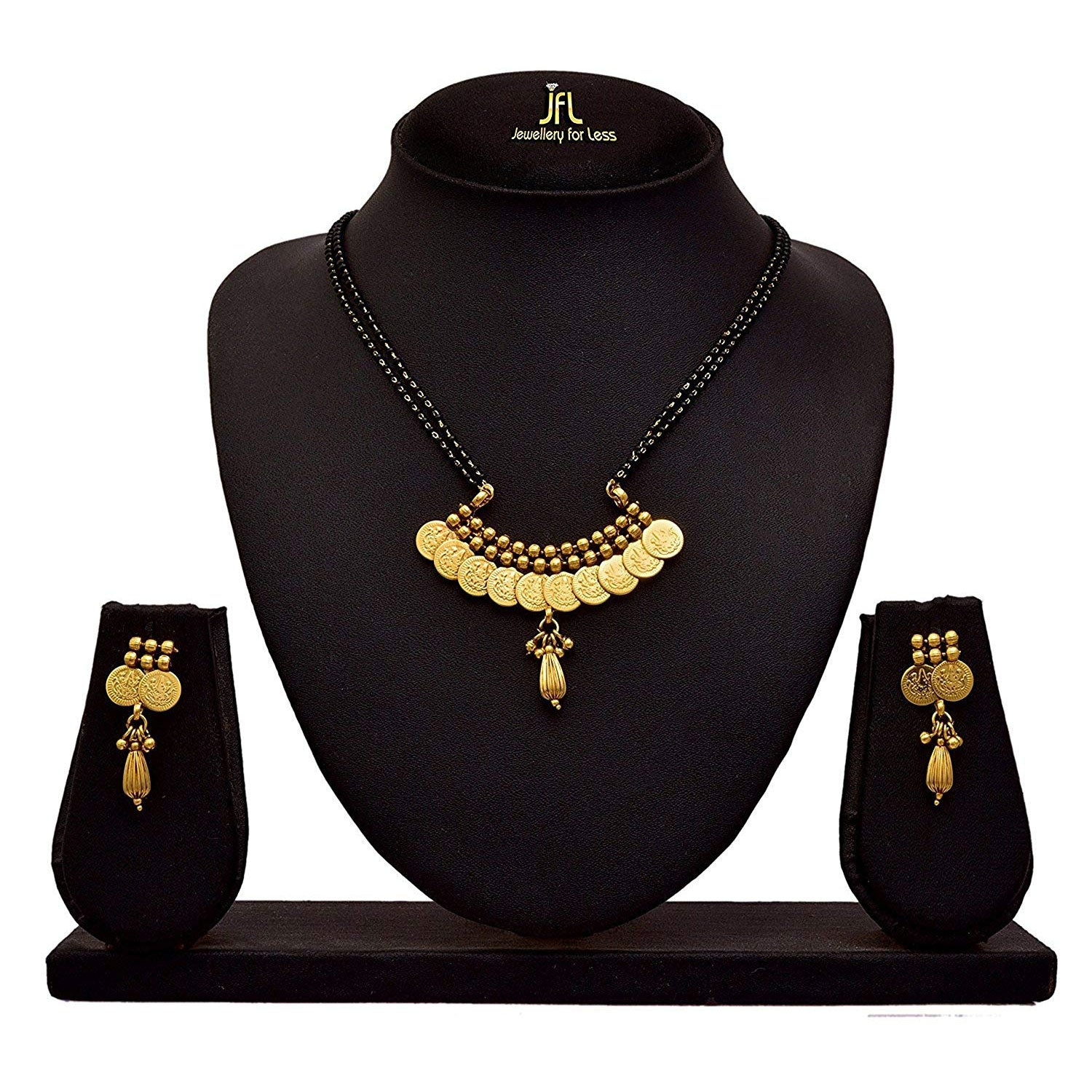 JFL - Traditional Ethnic Temple Goddess Laxmi Coin One Gram Gold Plated Mangalsutra with Black Beaded Double Chain and Earrings for Women