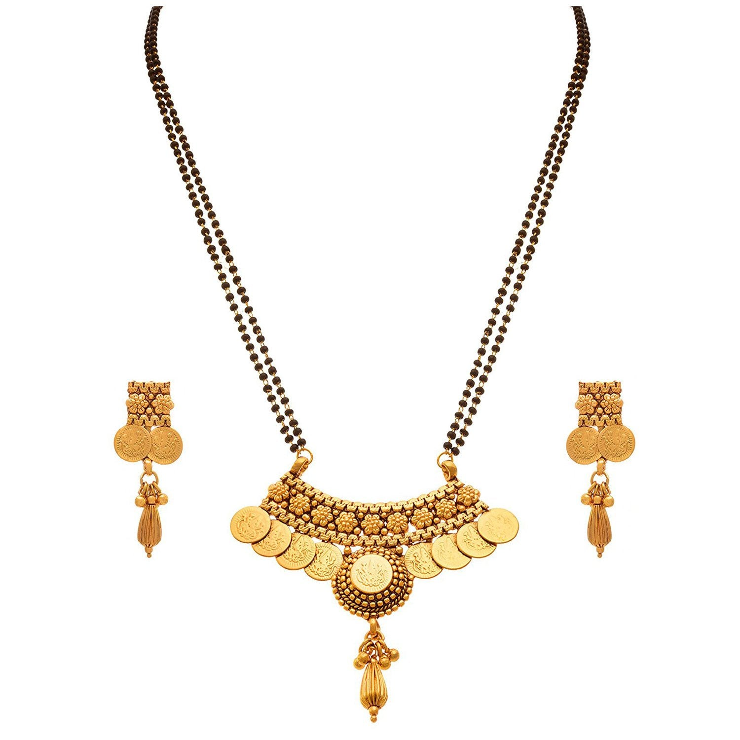 JFL - Traditional Ethnic Temple Goddess Laxmi One Gram Gold Plated Coin Mangalsutra with Black Beaded Double Chain and Earrings for Women