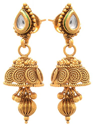JFL - Spiral Kundan One Gram Gold Plated Black Beaded Double Chain Mangalsutra With Jhumka Earring For Women