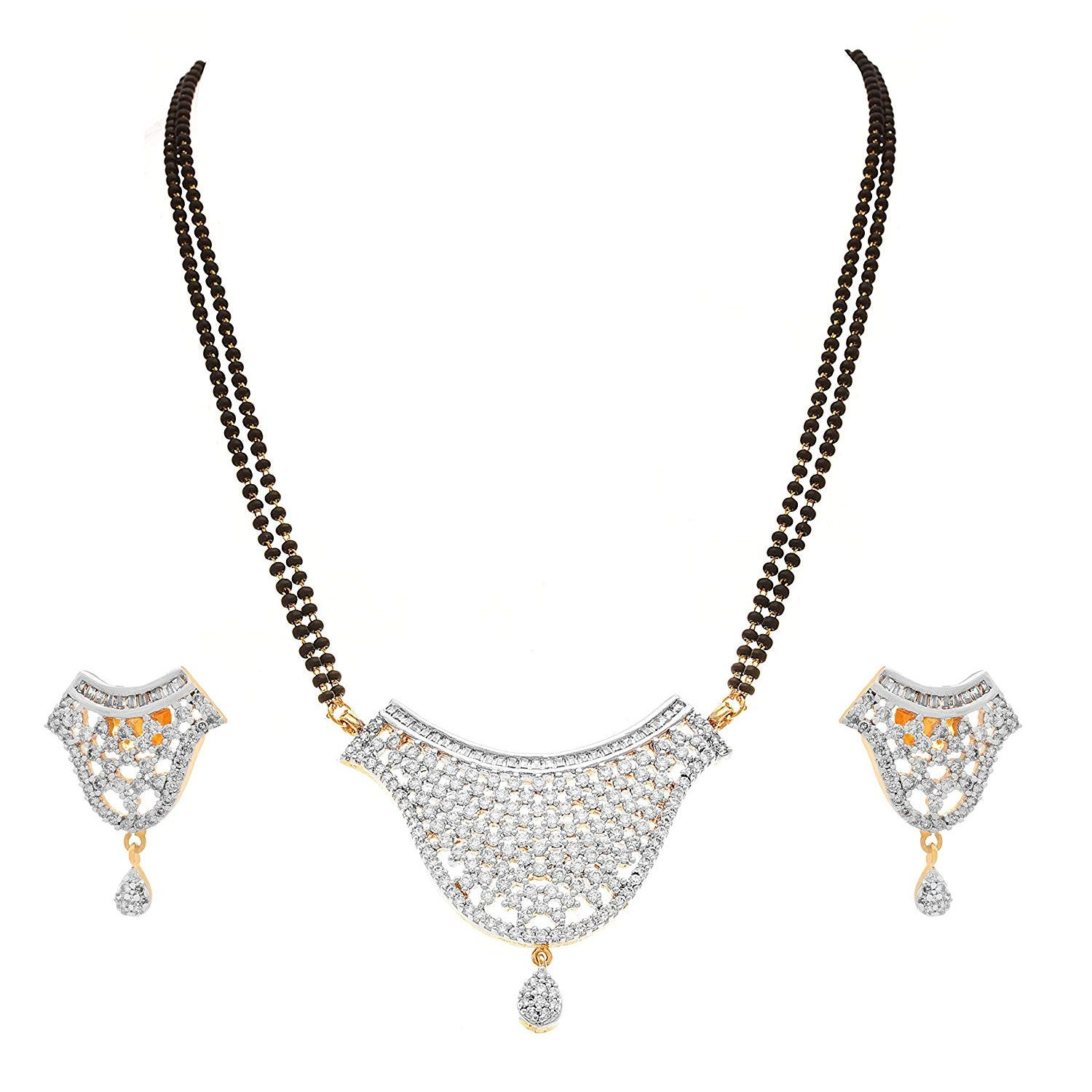JFL - Jewellery for Less Fusion Ethnic One Gram Gold Plated Cz American Diamond Designer Mangalsutra with Earrings for Women